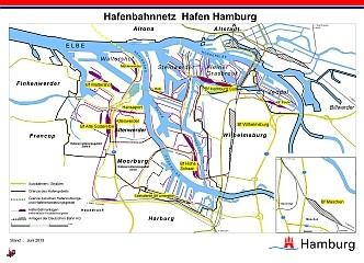 Hamburger hafenplan und hafenbahn netzplan